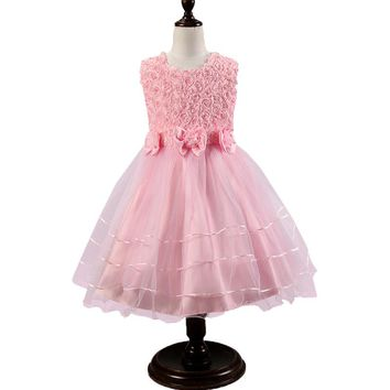 Beaded Rose Flower Mesh Tutu Party Dress For Girls Children Sweety Bow-tie Princess Gown Flower Girl Dresses Kids Formal Attire