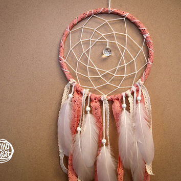 Dream Catcher - Forewer Spring - With Sparkling Crystal Prism, White Feathers and Laces - Boho Home Decor, Nursery Mobile