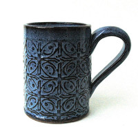 Dark Blue Textured Tin Roof Handmade Ceramic Pottery Coffee Mug