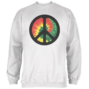 LMFGQ9 Rasta Tie Dye Peace Sign Distressed Halftone Mens Sweatshirt
