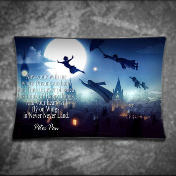 Unique Pillow Cover, Disney Wonderful Peter Pan Quote, Suitable For Any Age, Soft, Comfortable, Stylish