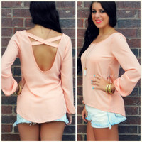 Lourdes Peach Bishop Sleeve Top