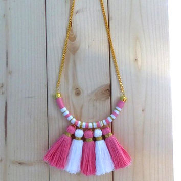 Funky necklace. African tribal necklace. Boho chic necklace. Tribal statement necklace. Bohemian necklace. Tassel necklace. Fringe necklace.