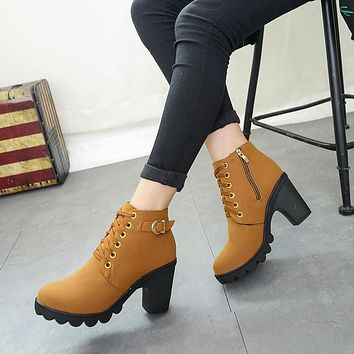 Scrub Lace UP Side Zipper Middle Chunky Heel Short Boots