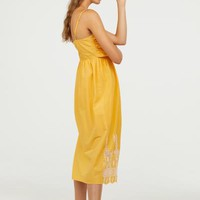 Cotton Dress with Tie-detail - Yellow - Ladies | H&M US