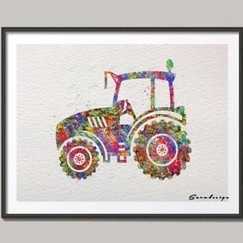 DIY Original watercolor Farm Tractor canvas painting Nursery wall art poster prints Pictures kids room Decoration wall sticker