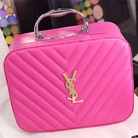 YSL Yves Saint Laurent Portable Cosmetic Bag Storage Bag Washing Bag F0717-1 roes red