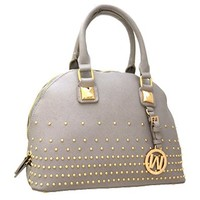 Hot! Gold Studded Fashion Handbag Purse (Gray)