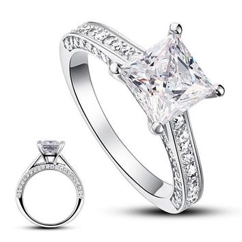Silver Wedding Engagement Ring 1.5 Carat Princess Cut Simulated Diamond