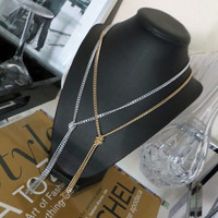 Gold or Silver Knotted Drop Necklace - Choose your style