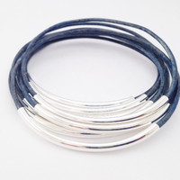LEATHER BANGLE BRACELETS- NATURAL BLUE-BY LEATHER WRAPS