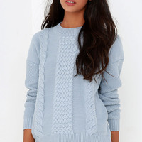 Rhythm Fleetwood Light Blue Cable Knit Sweater