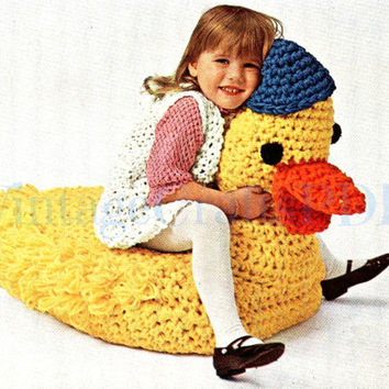 1970s Crochet Vintage Pattern -  Retro TV Duck Seat -Stuffed Animal-Stuffed Toy-Floor Pillow-Giant Pillow-Crochet Pattern-- Direct from USA