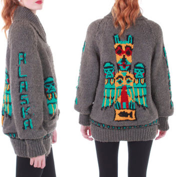 60s Vintage Alaska Cowichan Sweater Soft Wool Knit Native American Tribal Totem Gray Novelty Print Unique Gift Retro Unisex Medium Large