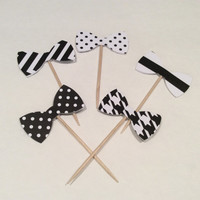 Black and White Bow tie cupcake toppers. Chevron, polka dots, stripes and Houndsthooth Partypicks, Party decor, Baby shower;  18 per order