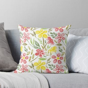 'Watercolor Flowers and Leaves ' Throw Pillow by stefiijuliette