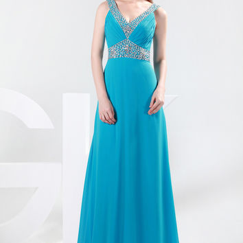 Deep V-Neck Beads Detailed Ruched Long Evening Dress