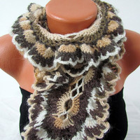 Knitted curly scarf crochet, colorful brown, mocha, white range.