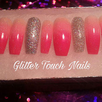 Pink Holo Glitter Ombre| False Nails| Fake Nails| Glue on Nails| Coffin Nails