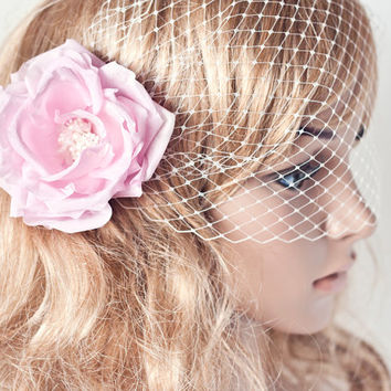 Veils,Bridal Veil, Bridal birdcage veil, Pink flower, Wedding veil, Blush flower fascinator, White or Ivory Veil, Pink Bridal Flower hair