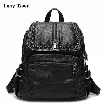 New Arrival Small Leather Backpack Preppy Style School Bags For Girls Women Solid Black Backpack mochila masculina L40