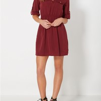 Burgundy Chiffon Shirt Dress