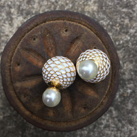 Double Pearl Earrings-Double Sided- Stud Earrings -White and Gold