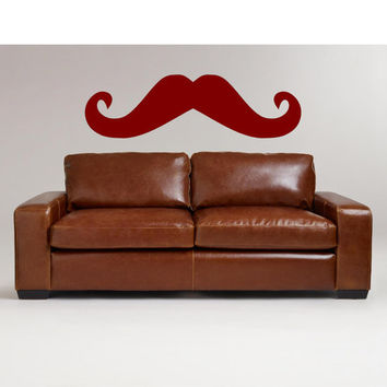 Funky Mustache XLarge Vinyl Wall Decal 14h x 48w-Mustache Decal-Wall Decal-Bedroom, Living Room Decal