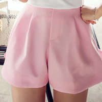 Pink Wide Leg High-Waisted Short with Pocket