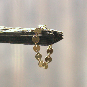 Tiny Gold Coin Ring Disc 14K Gold Filled Modern Minimalist Bead Band Unique Matching Bracelet