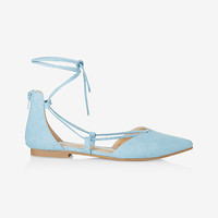 denim lace-up pointed toe flat