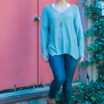 Take a Stand Oversized Sweater: Sage