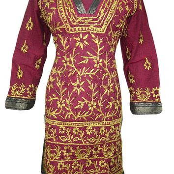 Womans Dress Kurta Maroon Floral Embroidered Cotton Indian Tunic Dresses: Amazon.ca: Clothing & Accessories