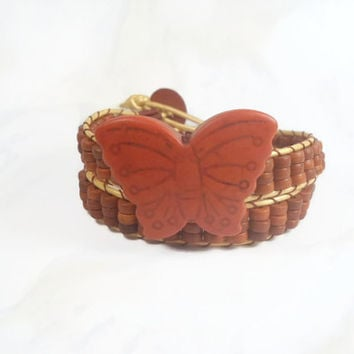 Beaded Wrap Bracelet Butterfly Bracelet Brown Butterfly