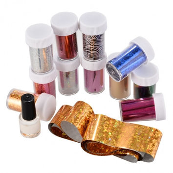 Hot Fashion Practical Nail Art Accessories 12 Colors Transfer Foil Stickers And Glue Set