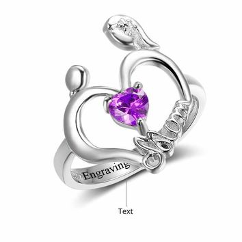 Personalized Engrave Custom Heart Birthstone Ring For Mom