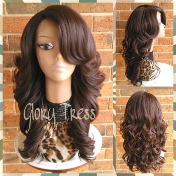 ON SALE // Long & Curly Lace Front Wig, Brown Wig, Bombshell Wig // SALVATION (Free Shipping)