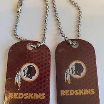 2 NFL Washington Redskins Logo Dog Tags Key chains backpacks party Gift