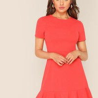 Zipper Back Ruffle Hem Fitted Dress