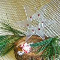Glass Star Ornament, Suncatcher, Christmas Ornament, Clear Iridescent with Raspberry accent beads, Holiday Gift, Holiday Decoration
