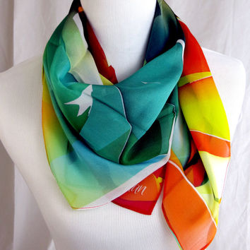"Silk Chiffon square scarf ""Shattered"" design, orange-green sheer scarf, gifts for women"