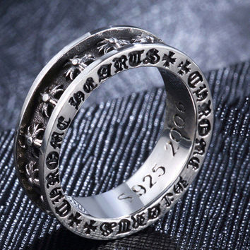 925 Sterling Silver Jewelry Chrome Style Hearts Rings Restoring Ancient Ways Fashion Domineering Punk Ring For Men Free Shipping