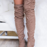 Seattle Skyline Thigh High Boot (Taupe)