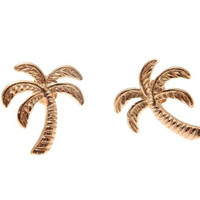 ROSE GOLD ON 925 STERLING SILVER HAWAIIAN PALM TREE STUD POST EARRINGS 11.30MM