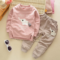 [Mumsbest] baby boys / girls Cartoon Elephant  Clothing Sets (T-Shirt+Pants Sets )