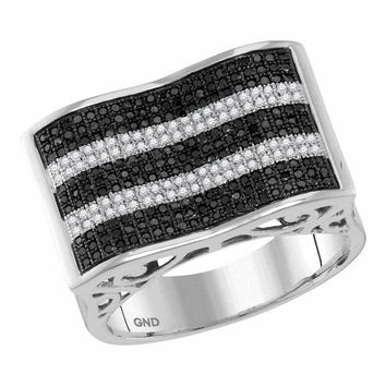 10kt White Gold Men's Round Black Color Enhanced Diamond Rectangle Stripe Cluster Ring 7/8 Cttw - FREE Shipping (US/CAN)