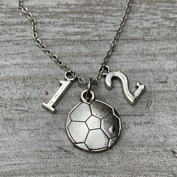 Personalized Girls Soccer Necklace with Number Charms