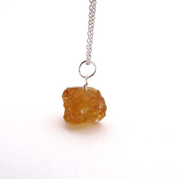 Raw citrine necklace,  rough dark citrine pendant, November birthstone jewelry, sterling silver wire wrapped necklace, citrine jewelry