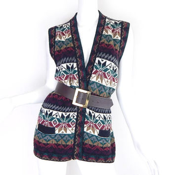 Vintage 90s Fair Isle Knit Snowflake Alpaca Sweater Vest - Women's Long Peruvian Holiday Sweater Vest Red Green Brown Gray Black White