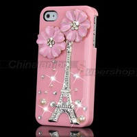 For iPhone 4G 4S Pretty Girl Bling 3D Metal Flower Eiffel Tower Skin Case Cover
